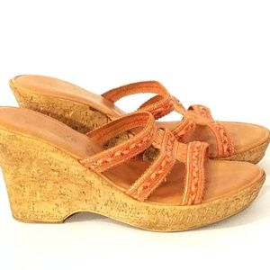 CONTESA Orange Leather Cork Wedge Platform Sandal
